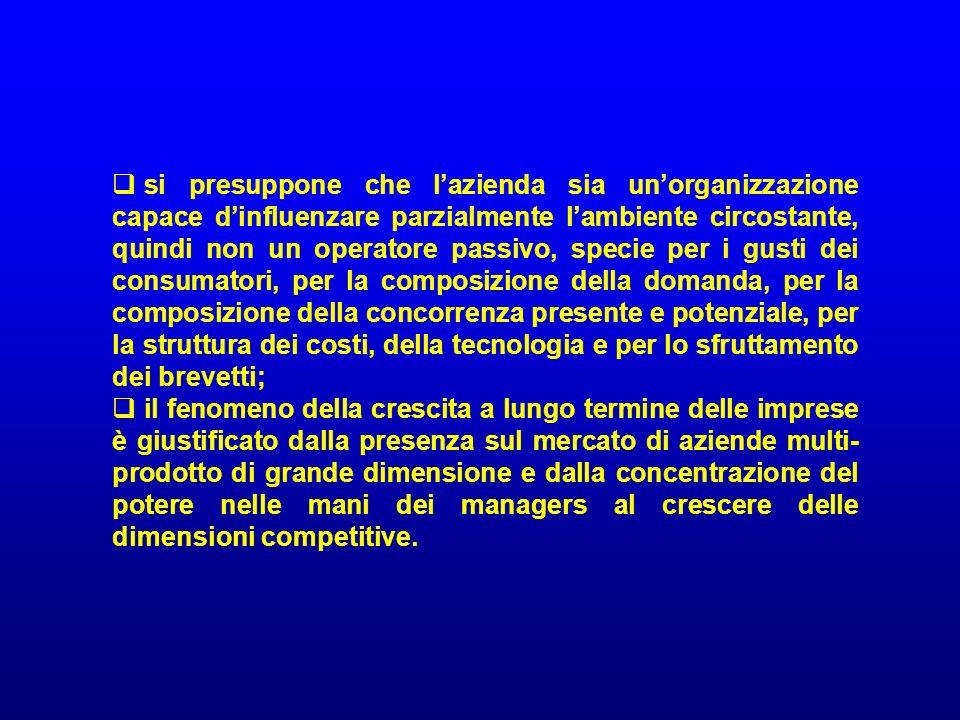 si presuppone che l'azienda sia un'organizzazione capace d'influenzare parzialmente l'ambiente circostante, quindi non un operatore passivo, specie per i gusti dei consumatori, per la composizione della domanda, per la composizione della concorrenza presente e potenziale, per la struttura dei costi, della tecnologia e per lo sfruttamento dei brevetti;