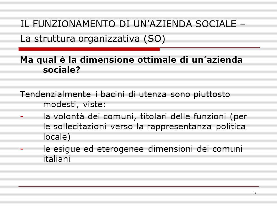 IL FUNZIONAMENTO DI UN'AZIENDA SOCIALE – La struttura organizzativa (SO)