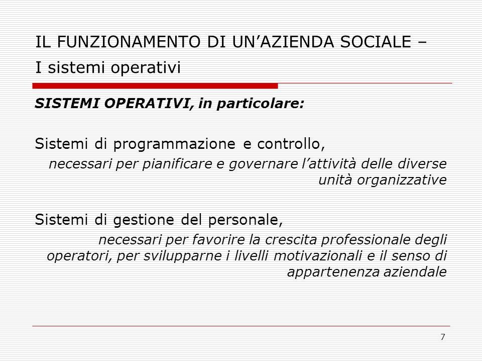 IL FUNZIONAMENTO DI UN'AZIENDA SOCIALE – I sistemi operativi