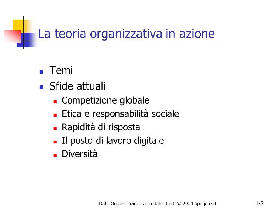 La teoria organizzativa in azione