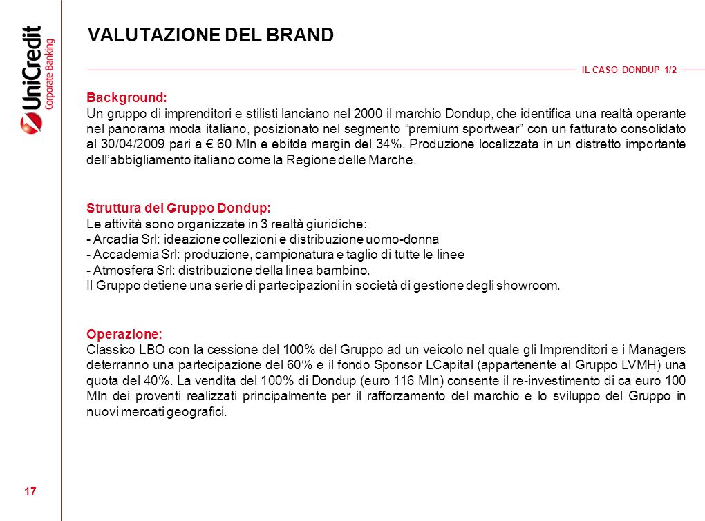 VALUTAZIONE DEL BRAND Background: