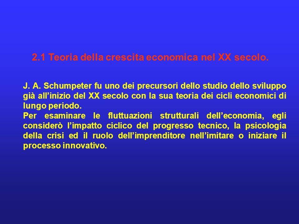 2.1 Teoria della crescita economica nel XX secolo.