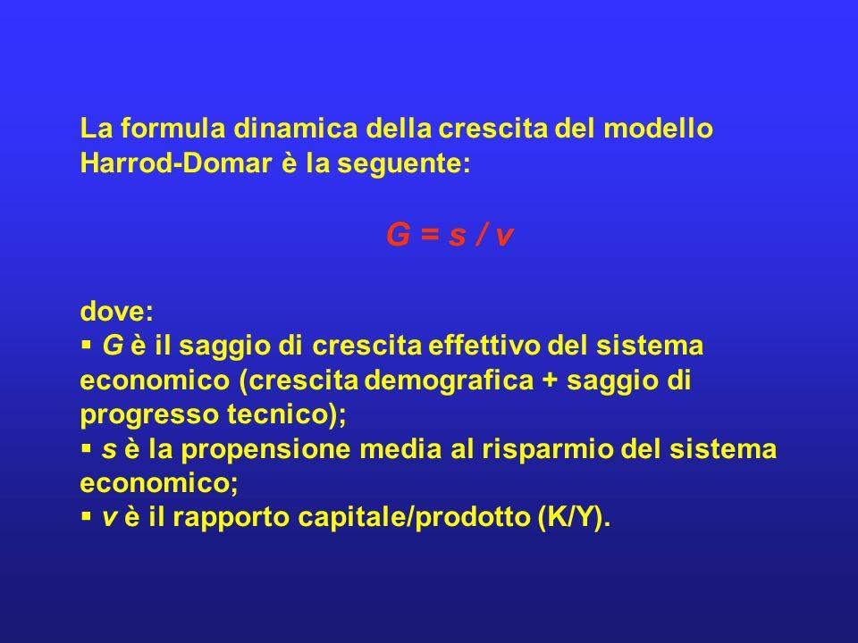 La formula dinamica della crescita del modello Harrod-Domar è la seguente:
