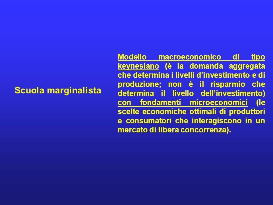 Modello macroeconomico di tipo keynesiano (è la domanda aggregata che determina i livelli d'investimento e di produzione; non è il risparmio che determina il livello dell'investimento) con fondamenti microeconomici (le scelte economiche ottimali di produttori e consumatori che interagiscono in un mercato di libera concorrenza).