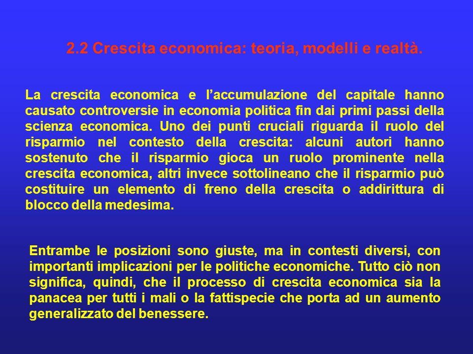2.2 Crescita economica: teoria, modelli e realtà.