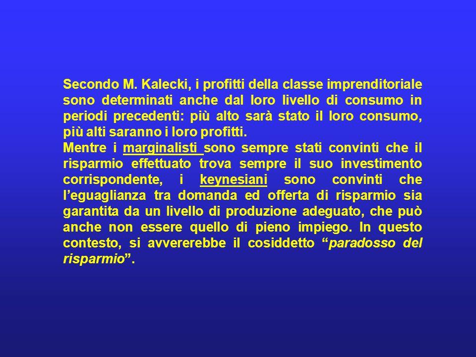 Secondo M. Kalecki, i profitti della classe imprenditoriale sono determinati anche dal loro livello di consumo in periodi precedenti: più alto sarà stato il loro consumo, più alti saranno i loro profitti.