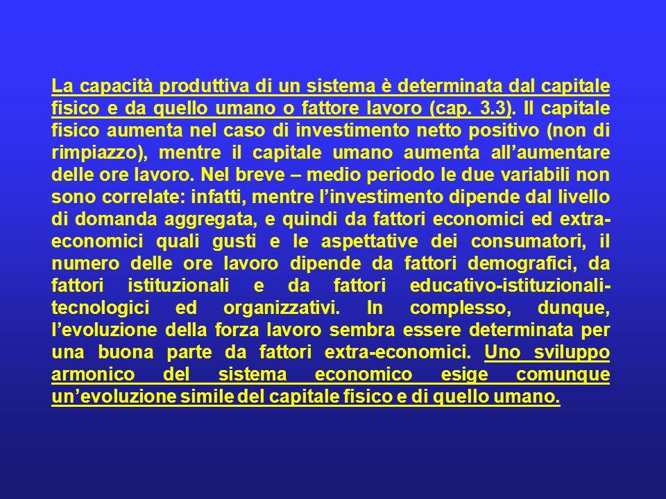 La capacità produttiva di un sistema è determinata dal capitale fisico e da quello umano o fattore lavoro (cap.