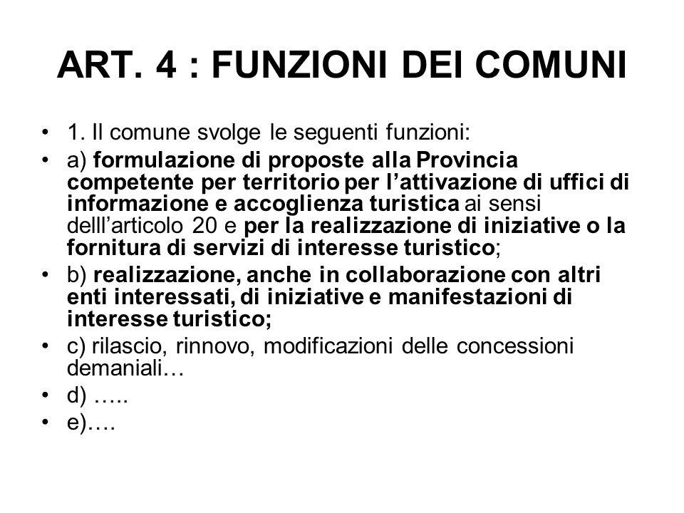ART. 4 : FUNZIONI DEI COMUNI