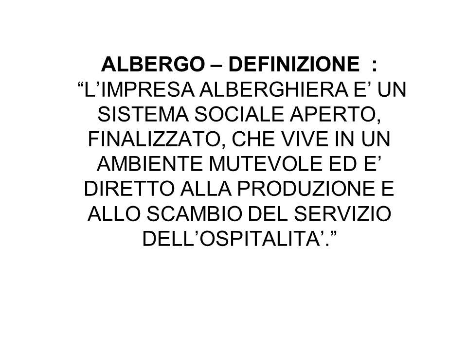 ALBERGO – DEFINIZIONE : L'IMPRESA ALBERGHIERA E' UN SISTEMA SOCIALE APERTO, FINALIZZATO, CHE VIVE IN UN AMBIENTE MUTEVOLE ED E' DIRETTO ALLA PRODUZIONE E ALLO SCAMBIO DEL SERVIZIO DELL'OSPITALITA'.