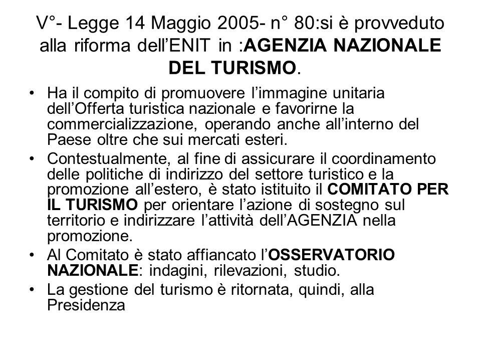 V°- Legge 14 Maggio 2005- n° 80:si è provveduto alla riforma dell'ENIT in :AGENZIA NAZIONALE DEL TURISMO.