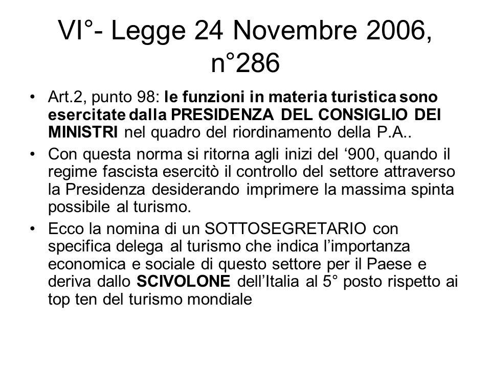 VI°- Legge 24 Novembre 2006, n°286