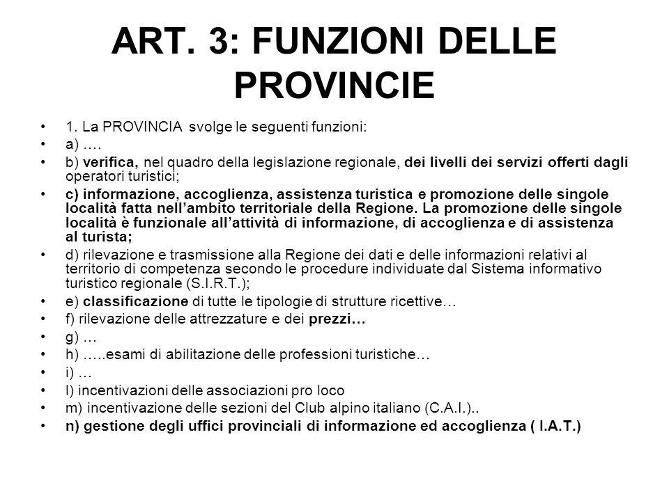 ART. 3: FUNZIONI DELLE PROVINCIE