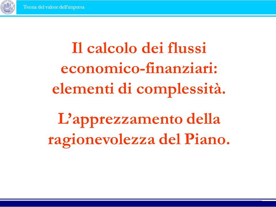 Il calcolo dei flussi economico-finanziari: elementi di complessità.
