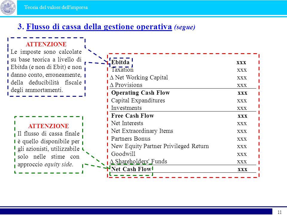 3. Flusso di cassa della gestione operativa (segue)