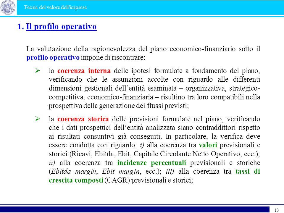 1. Il profilo operativo La valutazione della ragionevolezza del piano economico-finanziario sotto il profilo operativo impone di riscontrare: