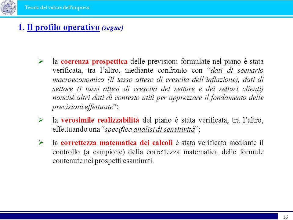 1. Il profilo operativo (segue)
