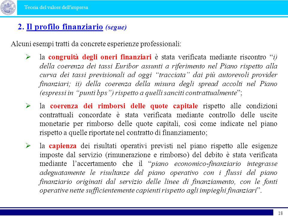 2. Il profilo finanziario (segue)