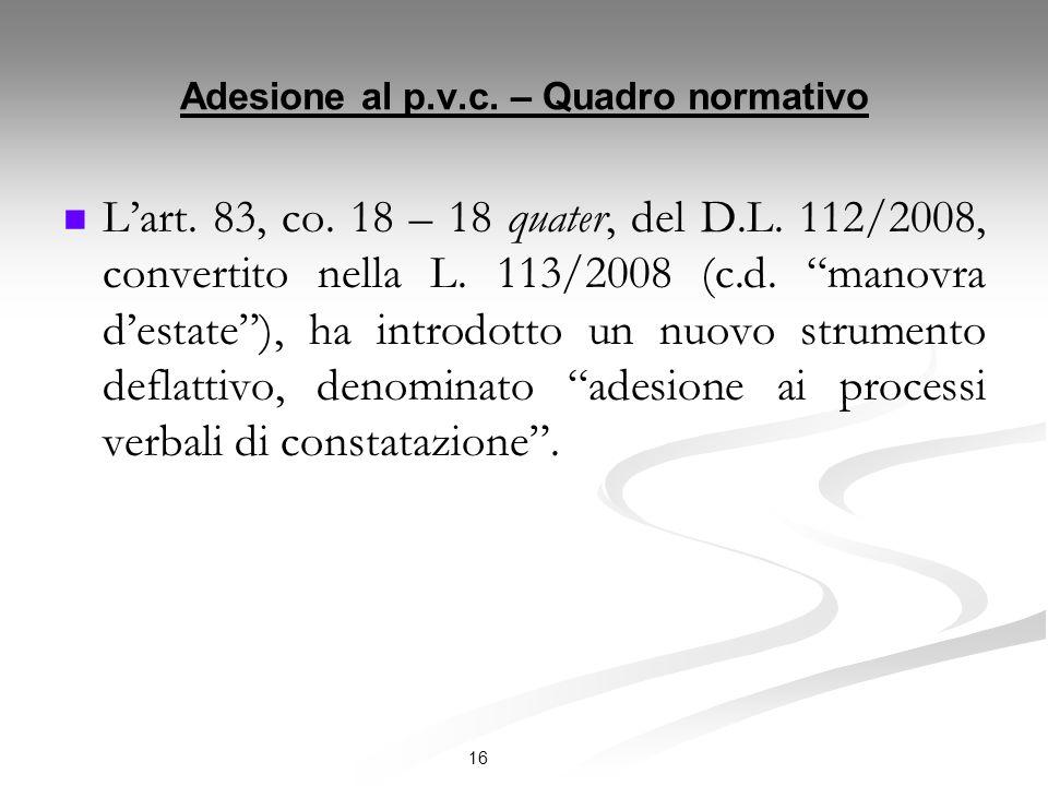 Adesione al p.v.c. – Quadro normativo