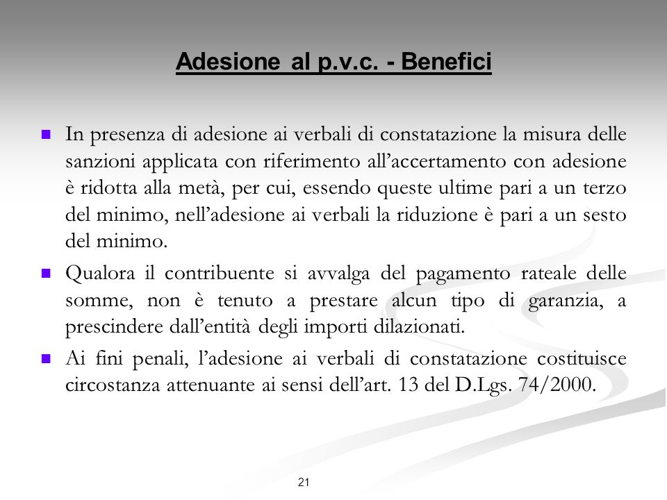 Adesione al p.v.c. - Benefici