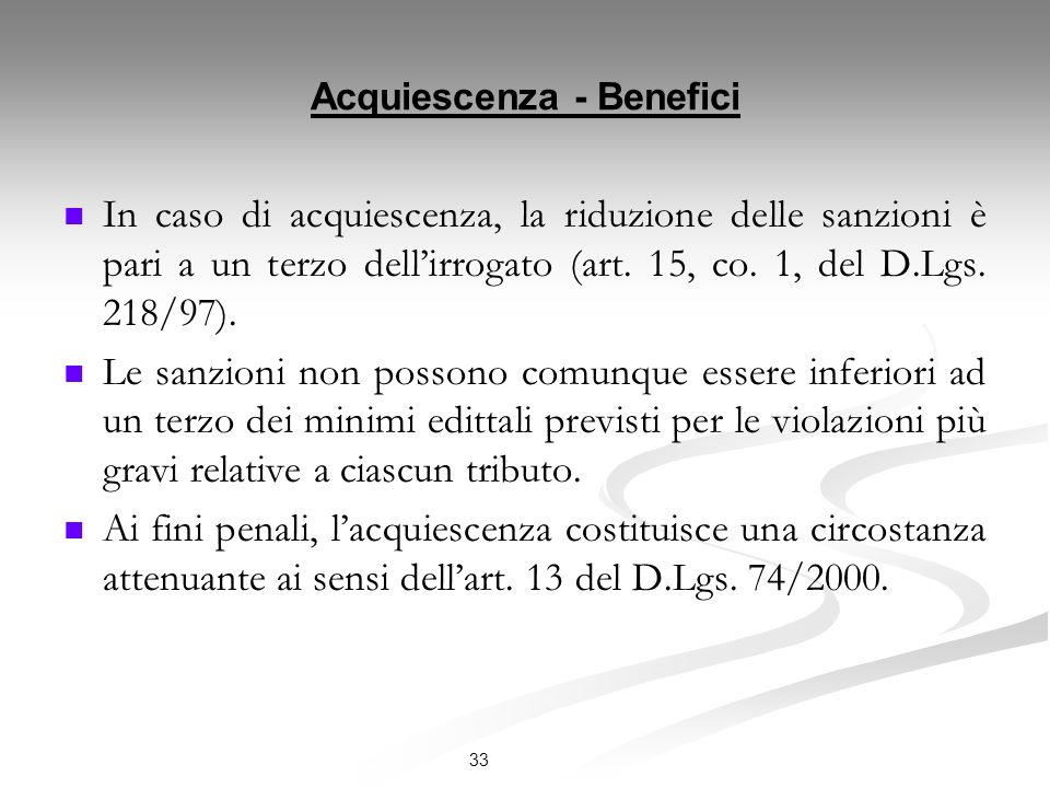Acquiescenza - Benefici
