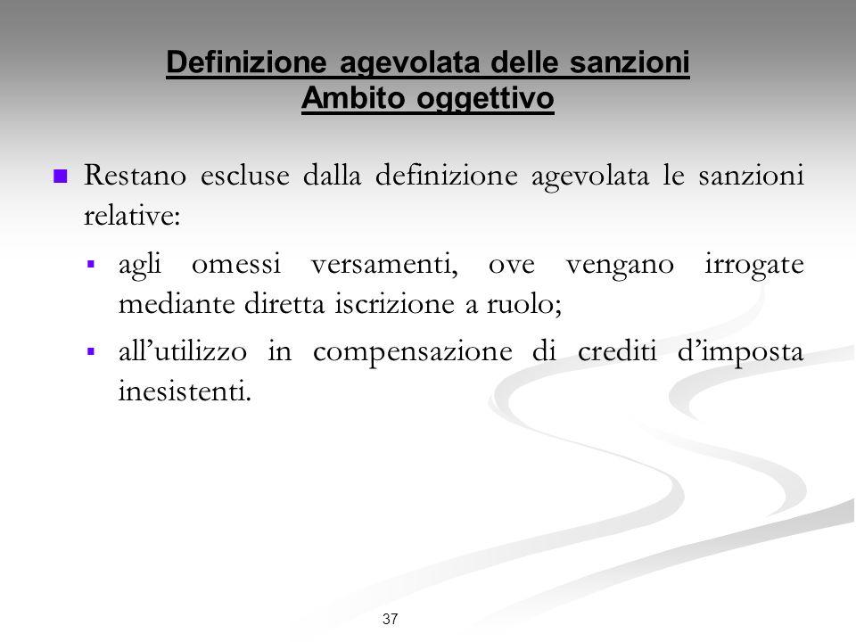 Definizione agevolata delle sanzioni Ambito oggettivo