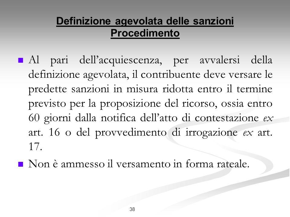 Definizione agevolata delle sanzioni Procedimento