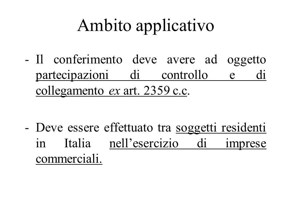 Ambito applicativoIl conferimento deve avere ad oggetto partecipazioni di controllo e di collegamento ex art. 2359 c.c.