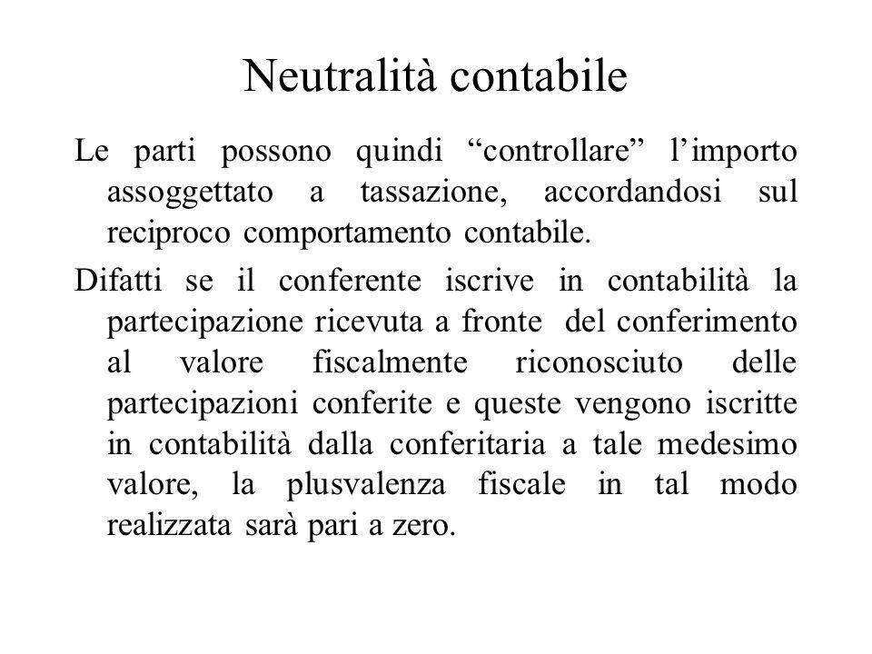 Neutralità contabile Le parti possono quindi controllare l'importo assoggettato a tassazione, accordandosi sul reciproco comportamento contabile.
