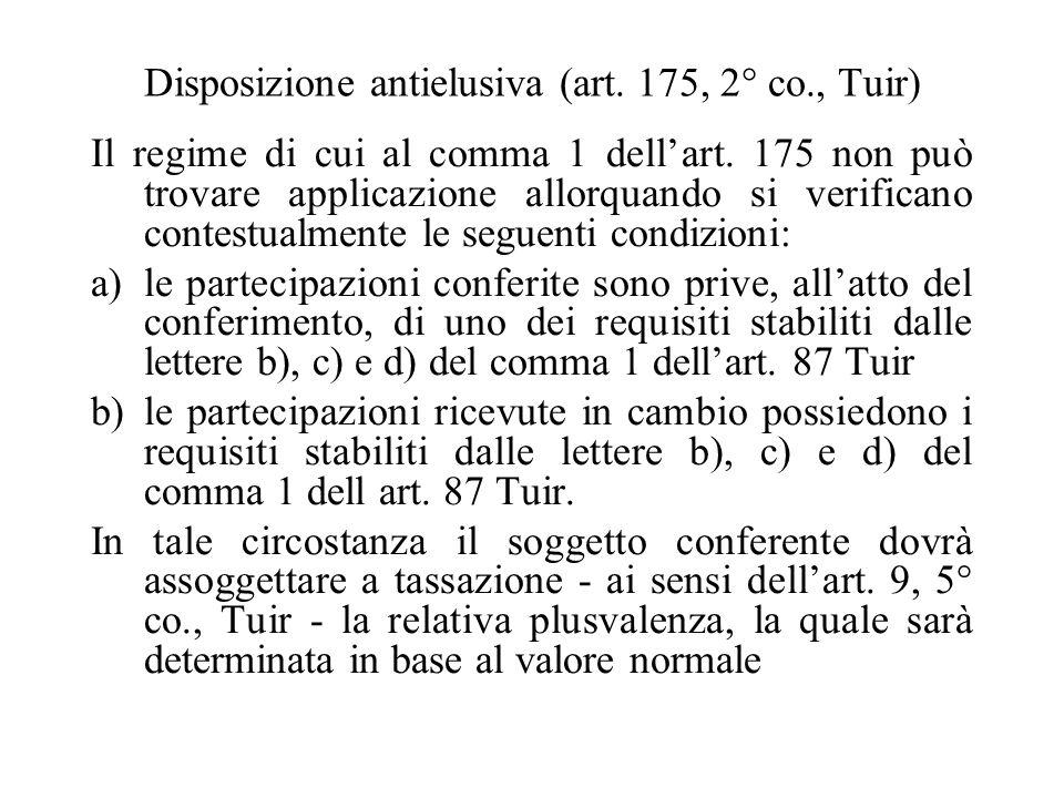 Disposizione antielusiva (art. 175, 2° co., Tuir)