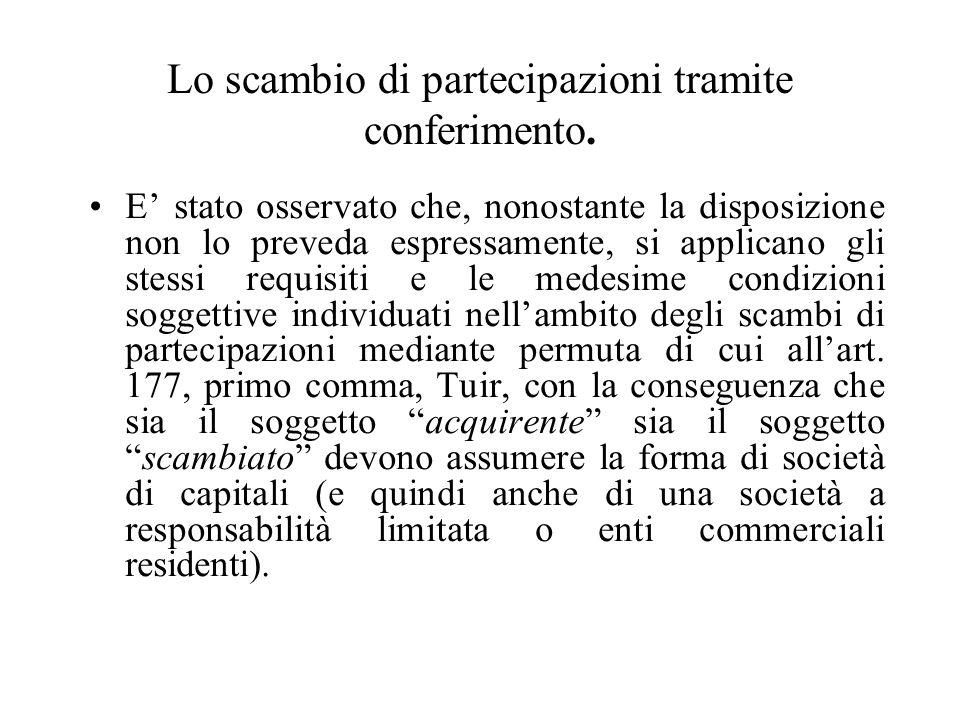 Lo scambio di partecipazioni tramite conferimento.