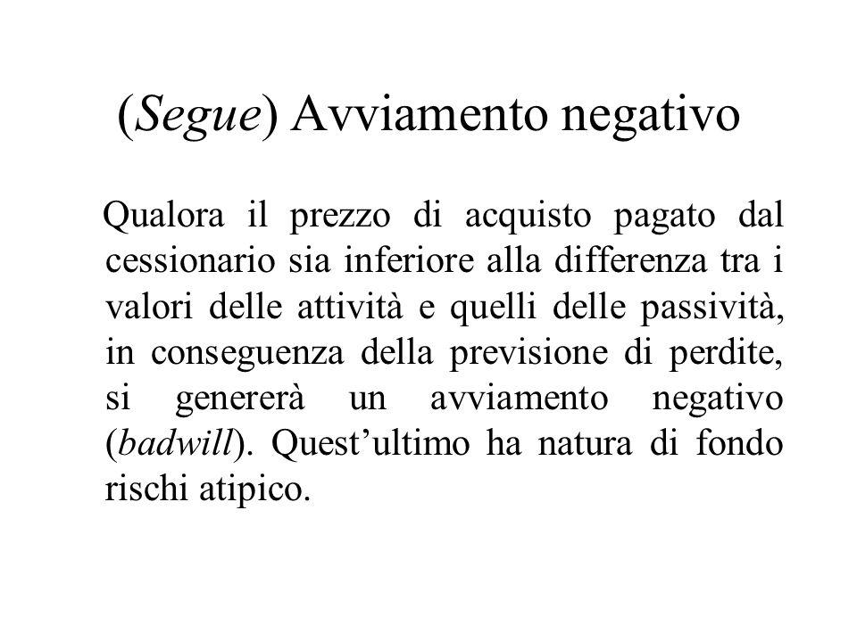 (Segue) Avviamento negativo