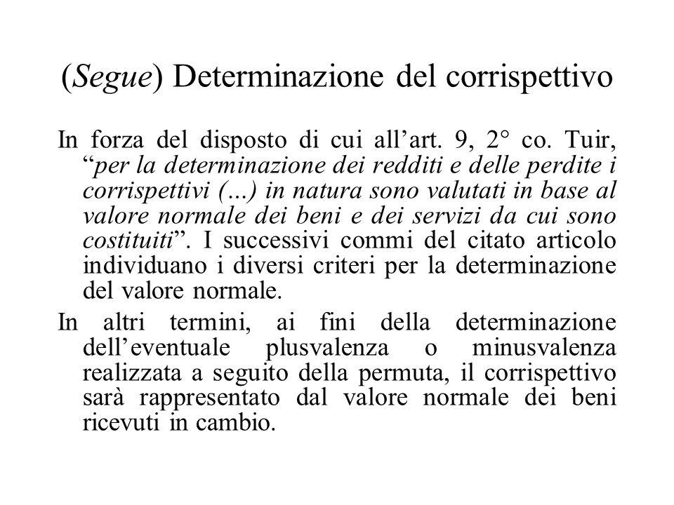 (Segue) Determinazione del corrispettivo