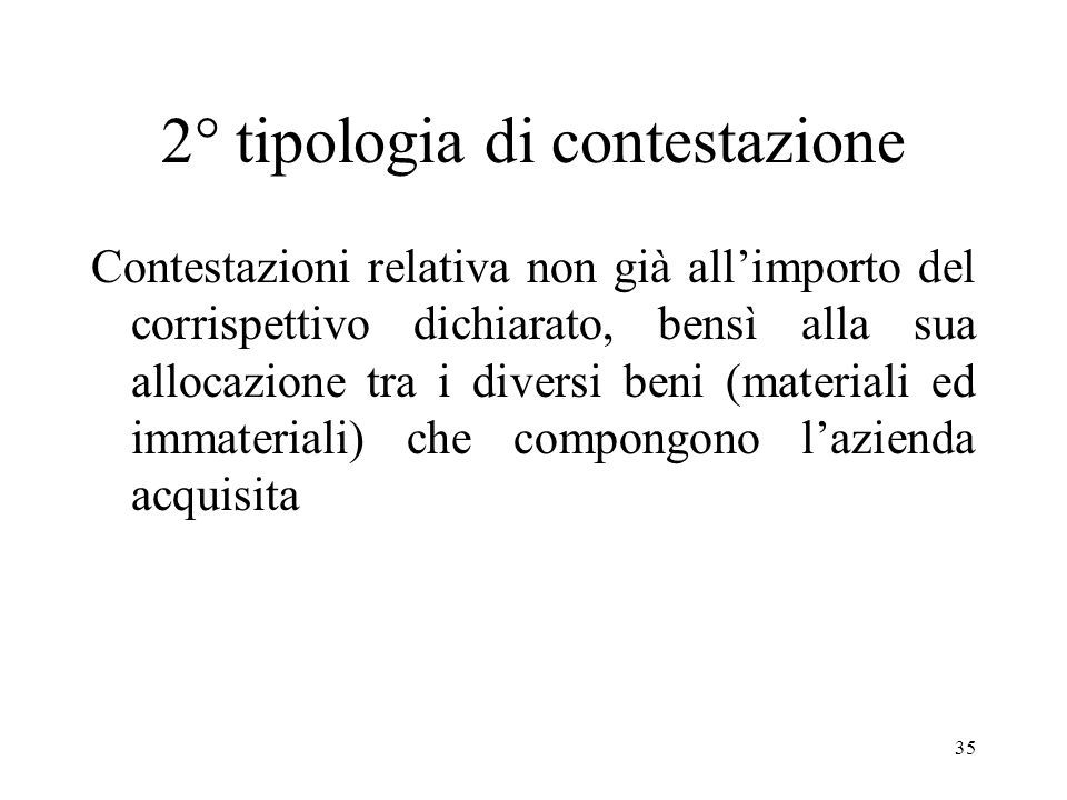 2° tipologia di contestazione