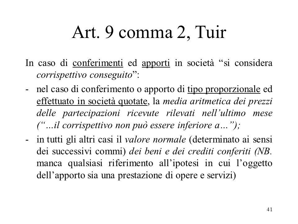 Art. 9 comma 2, Tuir In caso di conferimenti ed apporti in società si considera corrispettivo conseguito :