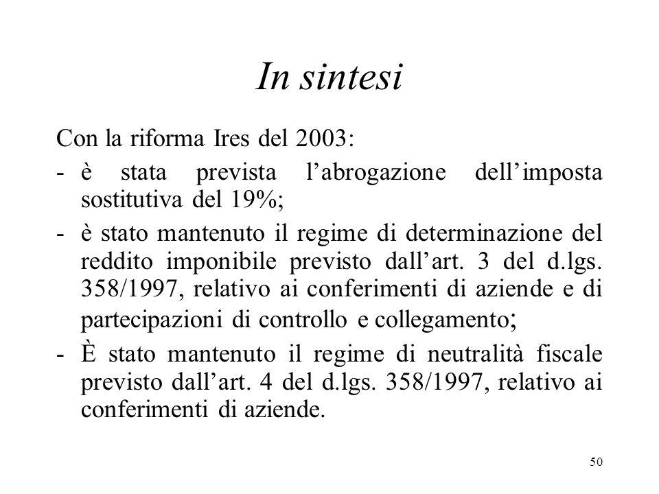 In sintesi Con la riforma Ires del 2003:
