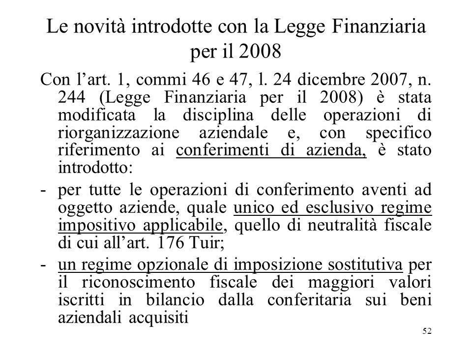Le novità introdotte con la Legge Finanziaria per il 2008