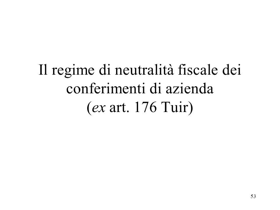Il regime di neutralità fiscale dei conferimenti di azienda (ex art