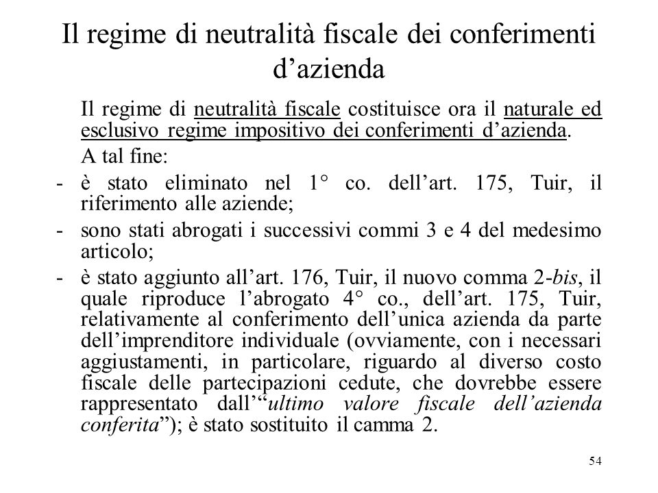 Il regime di neutralità fiscale dei conferimenti d'azienda