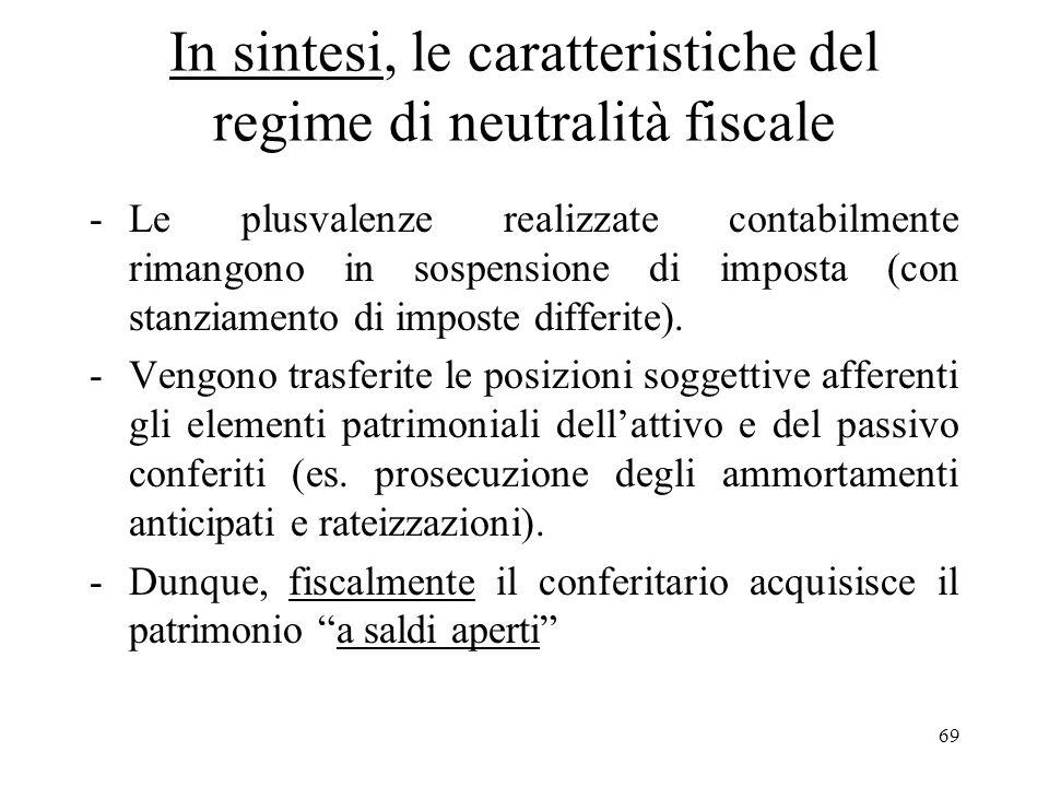 In sintesi, le caratteristiche del regime di neutralità fiscale