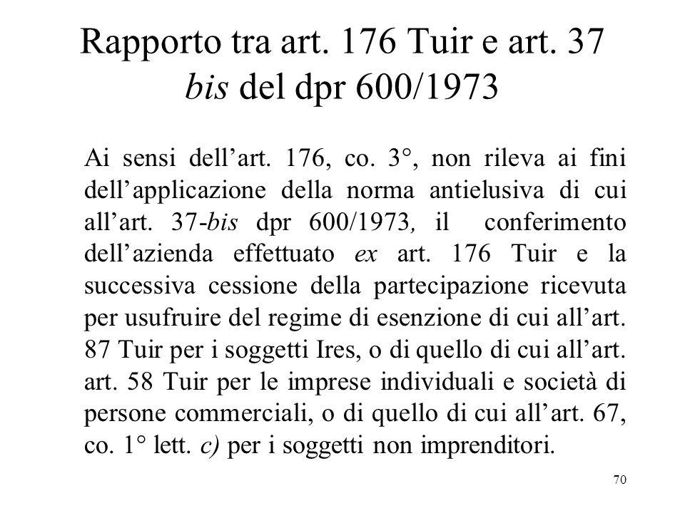 Rapporto tra art. 176 Tuir e art. 37 bis del dpr 600/1973