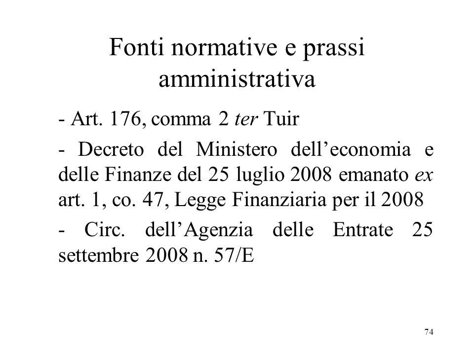 Fonti normative e prassi amministrativa