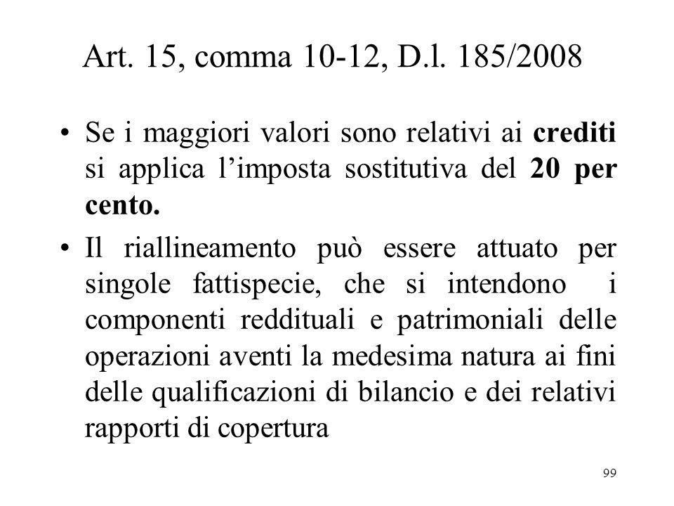 Art. 15, comma 10-12, D.l. 185/2008Se i maggiori valori sono relativi ai crediti si applica l'imposta sostitutiva del 20 per cento.