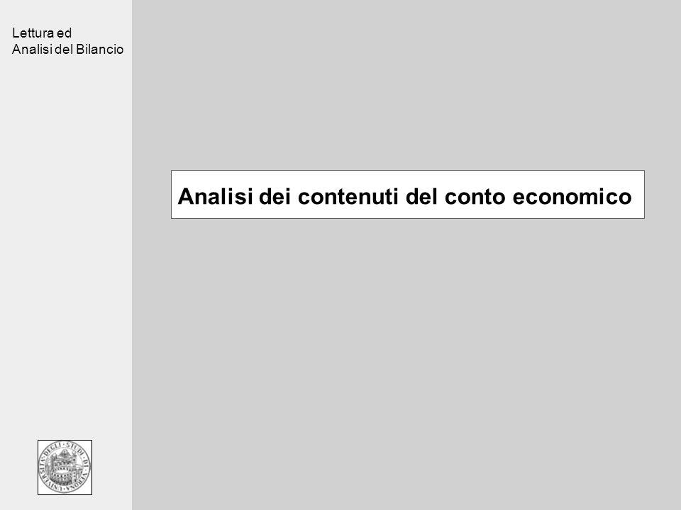 Analisi dei contenuti del conto economico