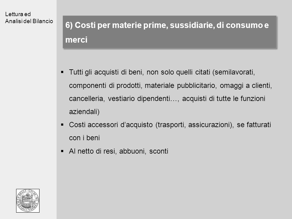 6) Costi per materie prime, sussidiarie, di consumo e merci