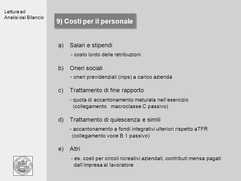 9) Costi per il personale
