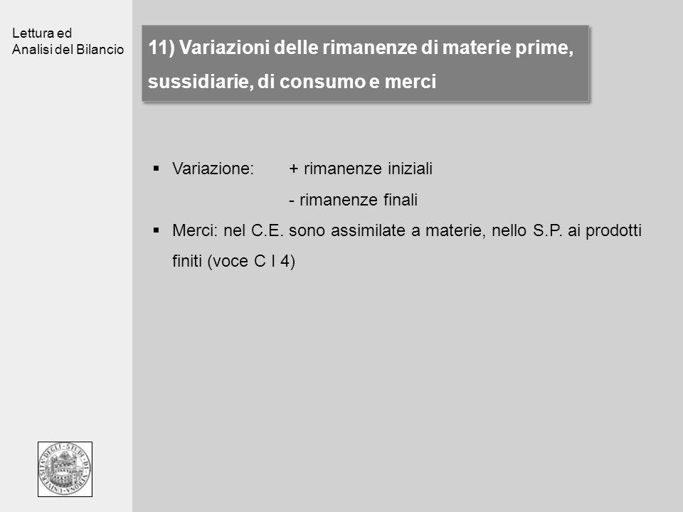 11) Variazioni delle rimanenze di materie prime, sussidiarie, di consumo e merci