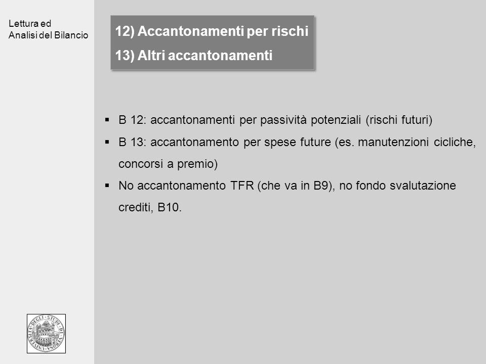 12) Accantonamenti per rischi 13) Altri accantonamenti