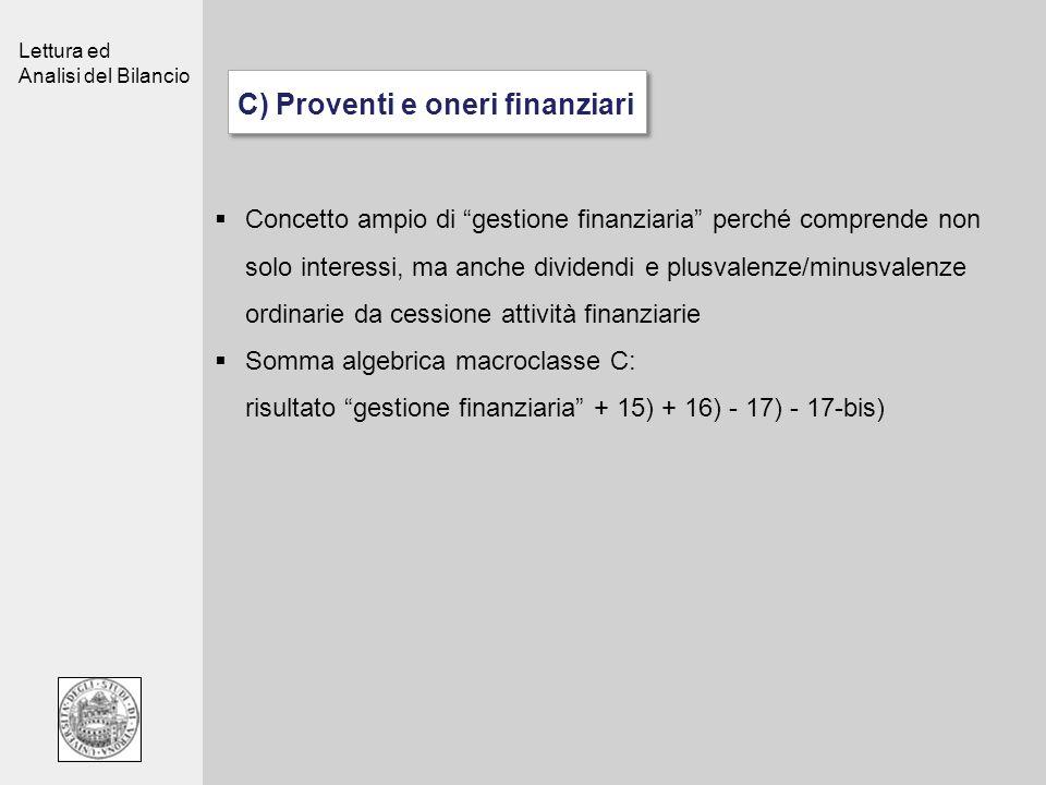 C) Proventi e oneri finanziari