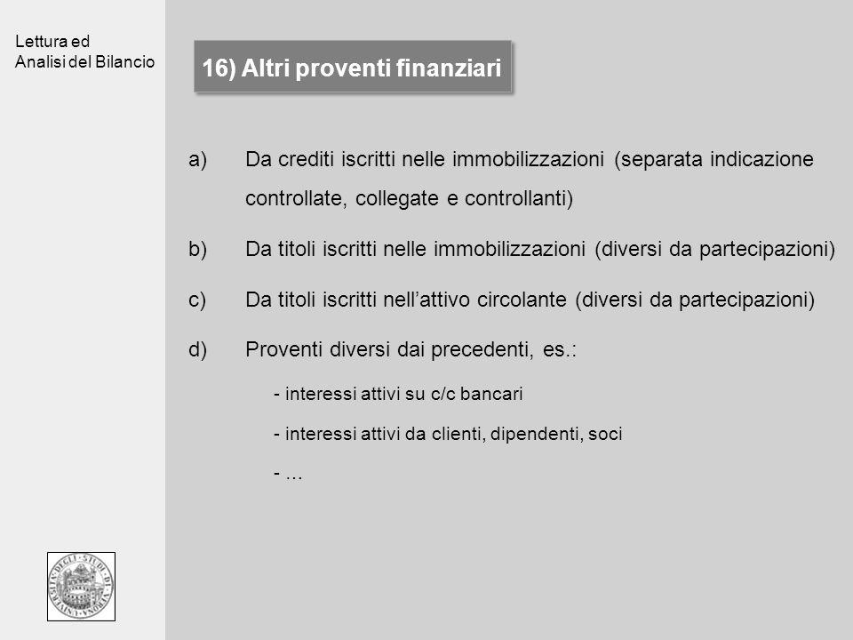 16) Altri proventi finanziari
