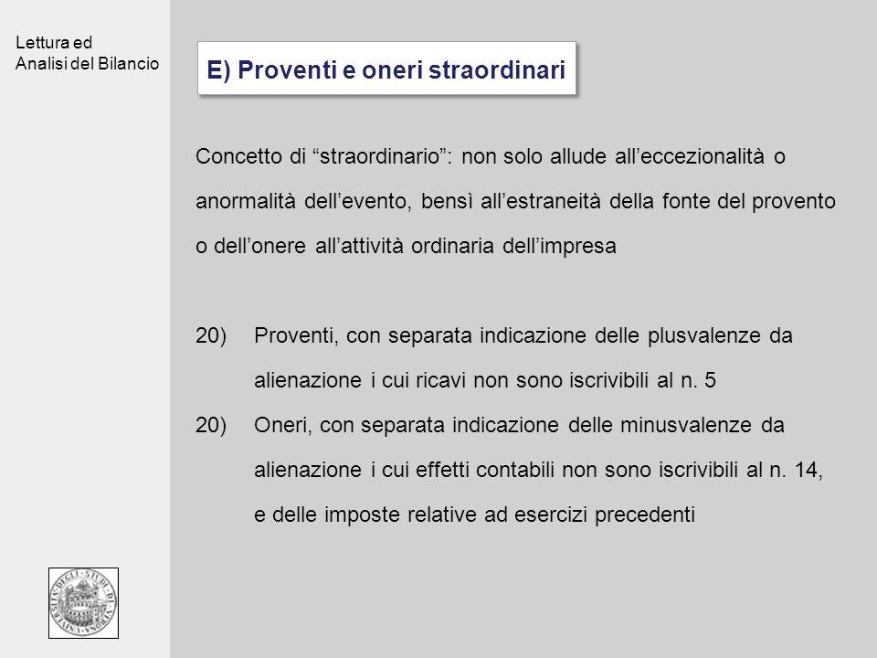 E) Proventi e oneri straordinari